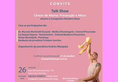 Simespi faz talk show sobre prevenção contra câncer de mama